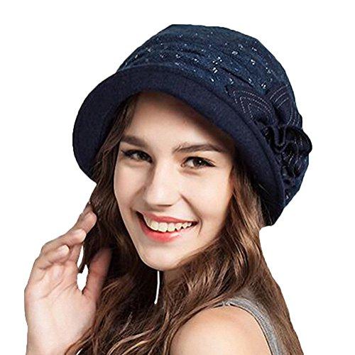 Maitose® Frauen dekorative Blumen Wolle Barett Marineblau