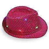 HENLOOO Hombres y Mujeres con Sombreros Brillantes, Sombreros del Jazz, Sombreros de Halloween de la Etapa,Rosered