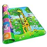 Beatie Tapis de Jeu pour Bébé, Pliable Épaisseur Double Face Giraffe Rampant Mat, Grand Tapis de éveil en Mousse pour Bébé Enfant - 2X1.8m