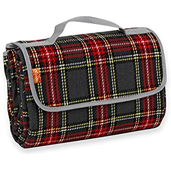 Yodo Red Tartan Picnic Blanket Waterproof Outdoor Camping Beach Barbecue Festival,150 x 135 cm
