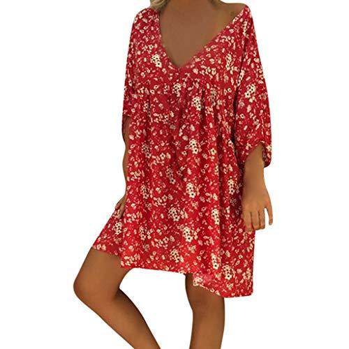 Riou Tunika Kleid Damen Sommer Sommerkleid Knielang Boho Strandkleider Blumen Große Größen Sexy V-Ausschnitt Lässig Frauen Zubehör Beach Mini Kleid