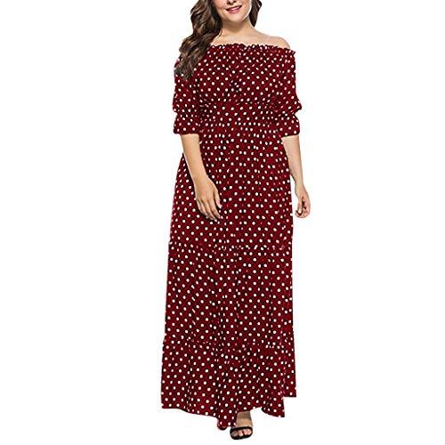 egant Kleider,Frauen Plus Size Sommer Schulterfrei Dot Print Boho Langes Kleid Party Maxi Kleid Von Evansamp(Rot,Xxxl) ()