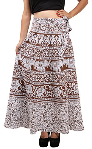 Holi Fashion Women's Wrap Skirt (Brown, Medium)