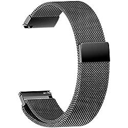 JiaMeng Metal Correas para Cintas magnéticas milanesas, Acero Inoxidable Banda de la Correa de Reloj del Lazo (Negro,22MM)