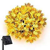 Solar Lichterkette, Außen Lichterkette, LED Blumen Lichterkette, 7m 50 LED String Lights zur Innen, Garten, Hochzeit, Party, Bäume, Terrasse (Warmweiß)