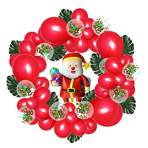 TIM-LI Weihnachtsballon Girlande Dekorationsset Mit Konfetti Luftballons, Weihnachtsmann/Kitz Winter Wonderland Party Dekor Durchmesser 5 Ft (Rot, Grün),Redsanta -