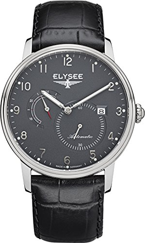 ELYSEE Men's Priamos 41mm Black Leather Band Steel Case Sapphire Crystal Automatic Grey Dial Watch 77015G