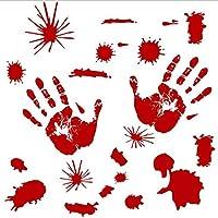 Xue Halloween Tapeten, Terror, Türaufkleber, Fenster, Glas, Kunst Dekor, Kürbis, Blut Druck, Blut Fußabdruck, Wanddecal, Wandbild, Aufkleber,E