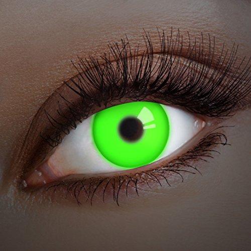 �� deckend grüne, farbige UV Kontaktlinsen ohne Stärke – Neon Augenlinsen für Festival, Halloween & Karneval, bunte 12 Monatslinsen (Yoda Halloween-kostüm)