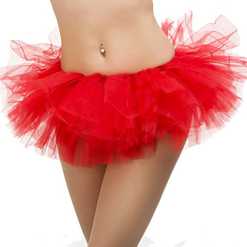 Tutu Ballet Skirt (One Size Fits All) with 5 Layers of Tulle & Satin Lined Waistband Miniskirt Tutu for All Women (Bright Red) (Kleid Damen Rock Kleine)