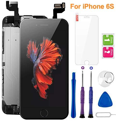 flylinktech display per iphone 6s schermo nero vetro 4,7 lcd touch screen digitizer parti di ricambio (con home pulsante, fotocamera, sensore flex) kit smontaggio trasformazione completo di ricambio