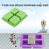 Gugutogo Neue Ankunft 4 Hohlraum rechteckigen Baum Form Silikon DIY Formen für Handgemachte Seife Kuchen (Farbe: Lila)