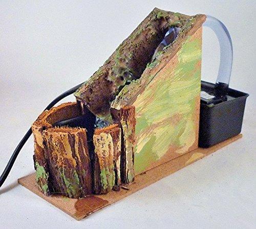 Pastori e Presepi - Cascata piccola in sughero con riciclo acqua 11 cm x 6 cm - Presepemania - Plastica Terra Cotta