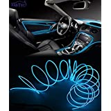 FABTEC EL Wire Car Interior Light Ambient Neon Light for Cars With Controler (Blue, 5 Meter)