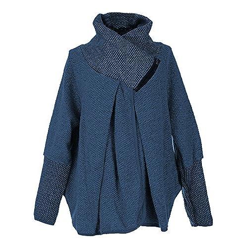 Gracious Girl GG Ladies Womens Italian Lagenlook Quirky Layer Wool Zip Long  Sleeve Cocoon Coat Jacket Poncho Cape Oversize