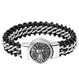 Oidea Bijoux Homme Bracelet Grand Manchette Chaîne de Main Tête de Lion Corde Cuir Tressé Acier Inoxydable Couleur Argent Avec Sac Cadeau