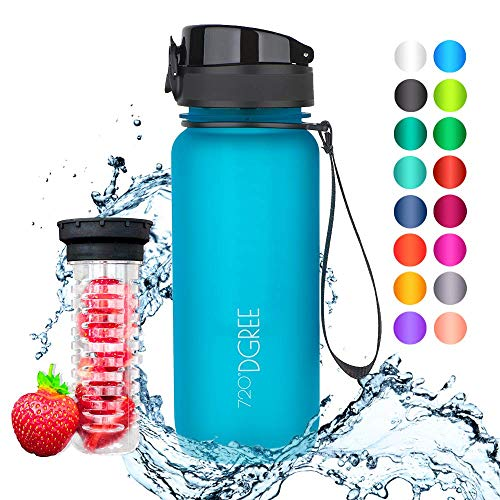 """720°DGREE Trinkflasche \""""uberBottle\"""" - 650 ml, 0,65 l, Blau - Neuartige Tritan Wasser-Flasche - Water Bottle BPA Frei - Ideale Sportflasche für Kinder, Fitness, Fahrrad, Sport, Fussball"""