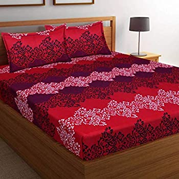 a7dea075517782 Supreme Home Collective 150 TC 100% Cotton Printed 1 Double Bed-Sheet with  2 Pillow Covers-Red