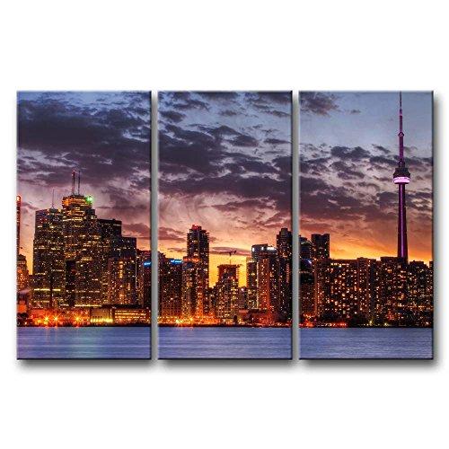 3Stück Art Wand Bild Toronto Skyline in Sunset Prints auf Leinwand The City Bilder Öl für Home Moderne Dekoration Print Decor für (Halloween Dekoration Toronto)