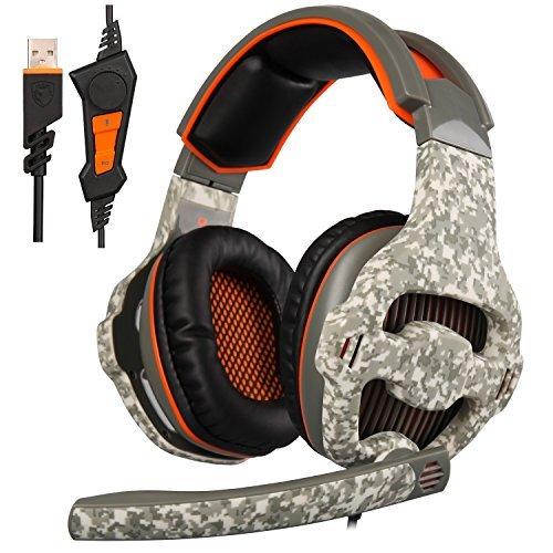 Aktualisierte Sades sa9187.1Surround Stereo Sound USB Gaming Headset mit Mikrofon, Bass Bügelkopfhörer geräuschisolierend, LED Licht für PC Gamer (Camouflage)