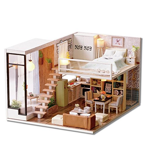 DIY 3D Casa de muñecas Papel Miniatura Muebles Kit LED Luz Niños Regalo de Grils X-mas