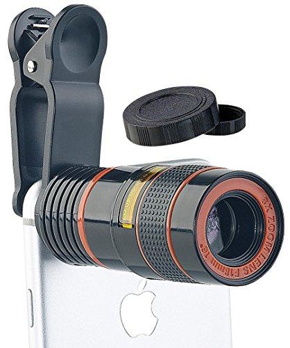 Somikon Objektiv für Handy: Smartphone-Vorsatz-Tele-Objektiv mit 8-Fach optischer Vergrößerung...