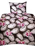 Leonado Vicenti 6 tlg. Bettwäsche 135x200 cm Steine Lilien in schwarz grau pink geblümt mit Reißverschluss Sparset mit Spannbettlaken
