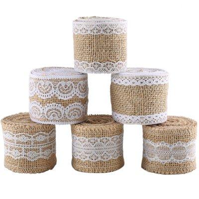 6 Rollos Natural Yute Cinta de Arpillera con decoración de Encaje Blanco para Artesanía la decoración de navidad la boda - 2 Metros por Rollo