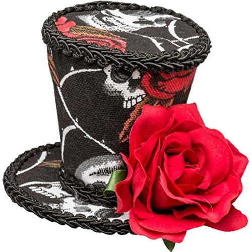 NET TOYS Sugar Skull Minizylinder La Catrina Minihut mit Rose Kleiner Zylinder Calavera Kopfschmuck Dia de los Muertos Fascinator Tag der Toten Totenfest Zylinderhut Halloween