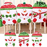Outgeek Christmas Chair Cover Snowman Printing Kitchen Chair Cover Christmas Decoration