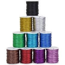 ROSENICE 10 Rollos Cuerda Hilo para Abalorios Cordón para Collar Pulsera 10 Colores 10 M 0.5 mm