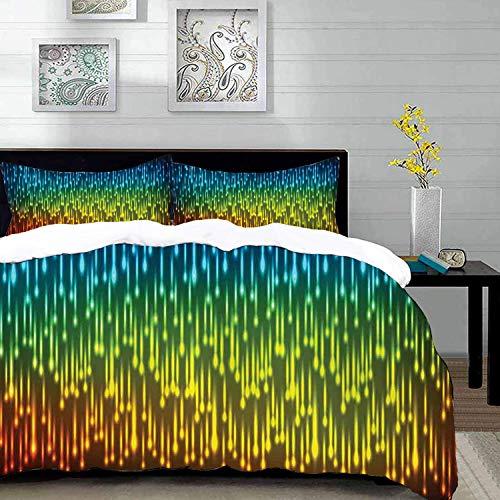 Copripiumino 250 X 215.Yilan Set Biancheria Da Letto Set Copripiumino In Microfibra Colorato Galaxy Universe Outer Space Ispirato Tecnico Neon Rain Modern