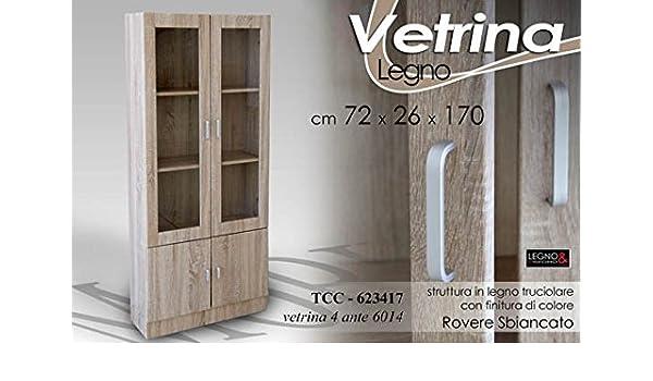 vetrina moderna 2 ante in vetro e legno laccato bianco lucido ... - Vetrine Per Soggiorno Moderno 2