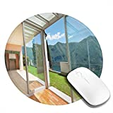 Dafang Villa con Appartamento Mouse Pad con Patio e Giardino Montagne e Mare, Immagine soleggiata, Tappetino per Mouse da Gioco Antiscivolo