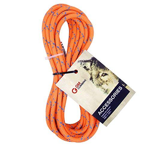 GM Klettern 8mm (5/16Zoll) Zubehör Seil 19KN Double Braid Pre Cut CE/UIAA, Fluoreszierendes Orange, 8mm(dia.) x 6.2m