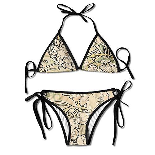 761cb5fe4 Zcfhike Women s Bikini Set Swimming Costumes for Alphonse Mucha Flower Print