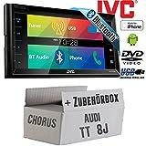 Audi TT 8J Chorus - JVC KW-V320BTE - CD DVD Bluetooth MP3 USB 6,8-Zoll Display Autoradio - Einbauset