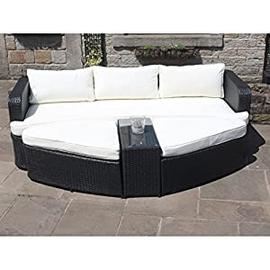 OWO Living Rattan Lounge Set Sofa with Coffee Table and Ottomans Outdoor Garden Furniture (Black)