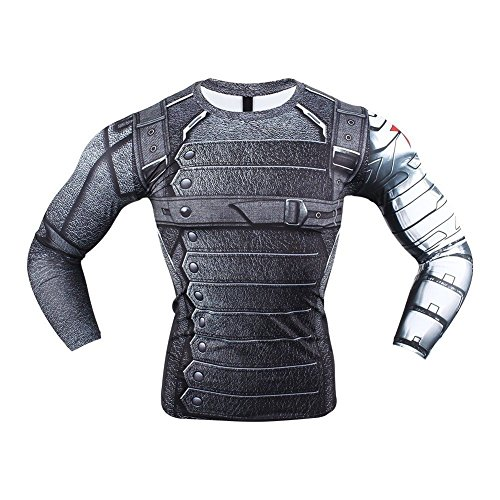Born2RideTM Shirt im Superheld-Kostüm für Fitnessstudio/Radsport, Compression Baselayer T-Shirt mit kurzen Armen für Herren Gr. M, 'New' Winter Soldier Long Sleeve (Winter Soldier Arm Kostüm)