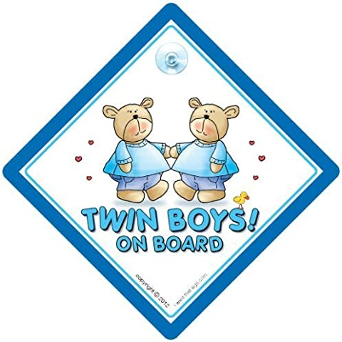 Twin on Board-Twins on Board'a forma di orsetto, colore: blu, Twins on Board Baby on Board, decalcomania, adesivo Gemelli, Baby on Board, Twins on Board Cartello