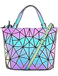 3b59aa805840 HotOne Women's Shard Lattice Design Luminous Geometric Bag PU Leather  Unique Purses and Handbag (10467567