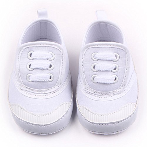 Happy Cherry Chaussures Premier Pas Bébé Fille Garçon Sneaker Souple Chaussons Antidérapantes en Toile semelle Souple Toddler Pour 3-6 mois - couleur et taille au choix Blanc