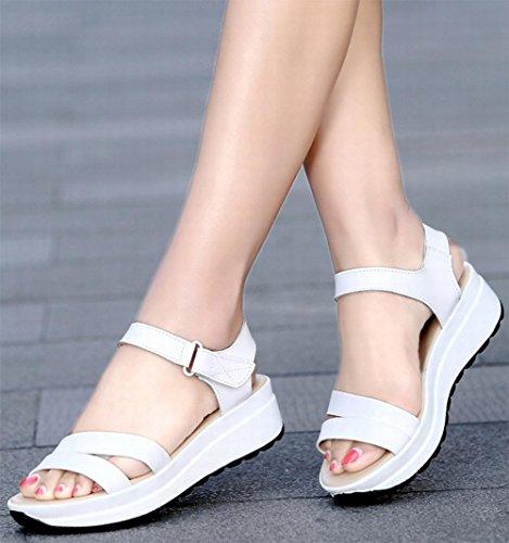 Sandales d'été avec pente femme secoua sa chaussure était mince sandales femmes sandales occasionnels a augmenté femmes chaussures tête de poisson White