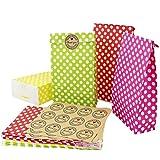Kbnian 24Pcs Sacchetti di carta regalo mescolare i colori borse carino per festa di compleanno festa di compleanno di San Valentino