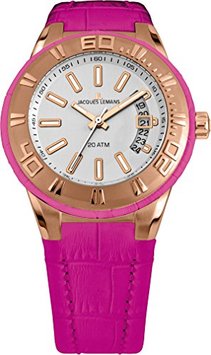 Jacques Lemans Miami Women Pink Leather Strap Watch 1-1771I