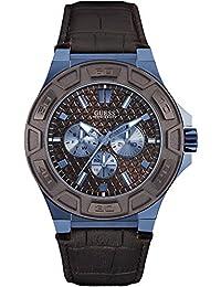 Guess W0674G5 - Reloj con correa de piel, para hombre, color marrón / negro