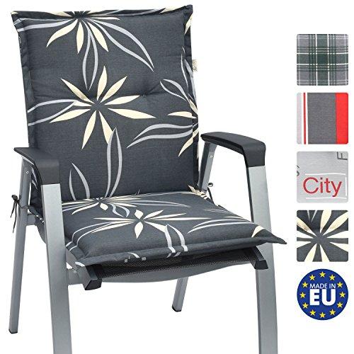 Beautissu Niedriglehner Auflage für Gartenstuhl Loft NL Flower 100x50x6 Bequemes Sitzkissen Polsterauflage UV-Lichtecht