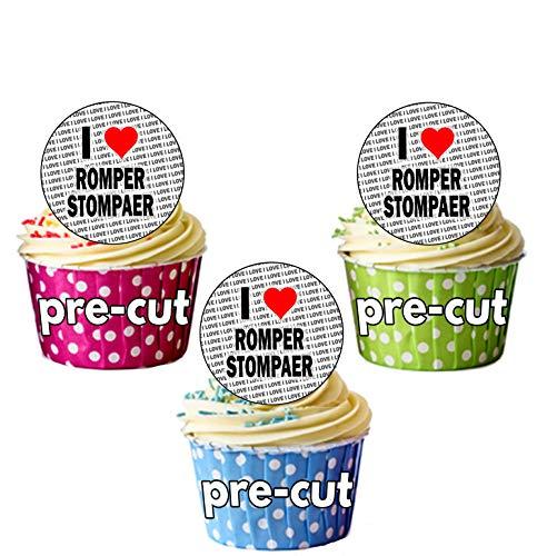 AK Giftshop I Love Strampler Rollschuhe für–24Essbare Cupcake Topper Kuchen Dekorationen–Einfache vorgeschnittenen Kreise