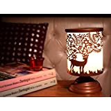 Hashcart 9 Inch Metal Carved Table Lamp With Dear Pattern - Indoor Lighting / Home Decorative Items / Gift Item / Night Lamp / Table Top / Study Lamp / Desk Lamp / Bedside Lamp / Corner Lamp / Decoration Items / Table Decor For Home Decor & Gift Items