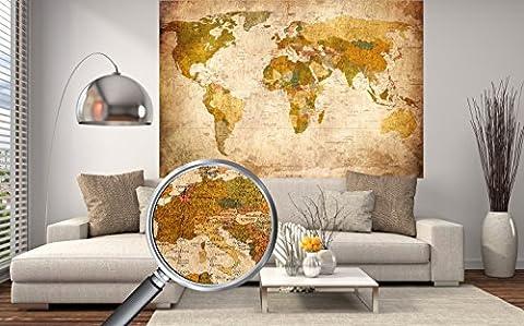 Old carte du monde en look vintage - peinture murale XXL Affiches HD 140cm x 100 cm décoration murale rétro. image mappemonde utilisé comme mur   Carte écran murale antique   + GRATUIT Poster pour la Porte de New York Chrysler Building